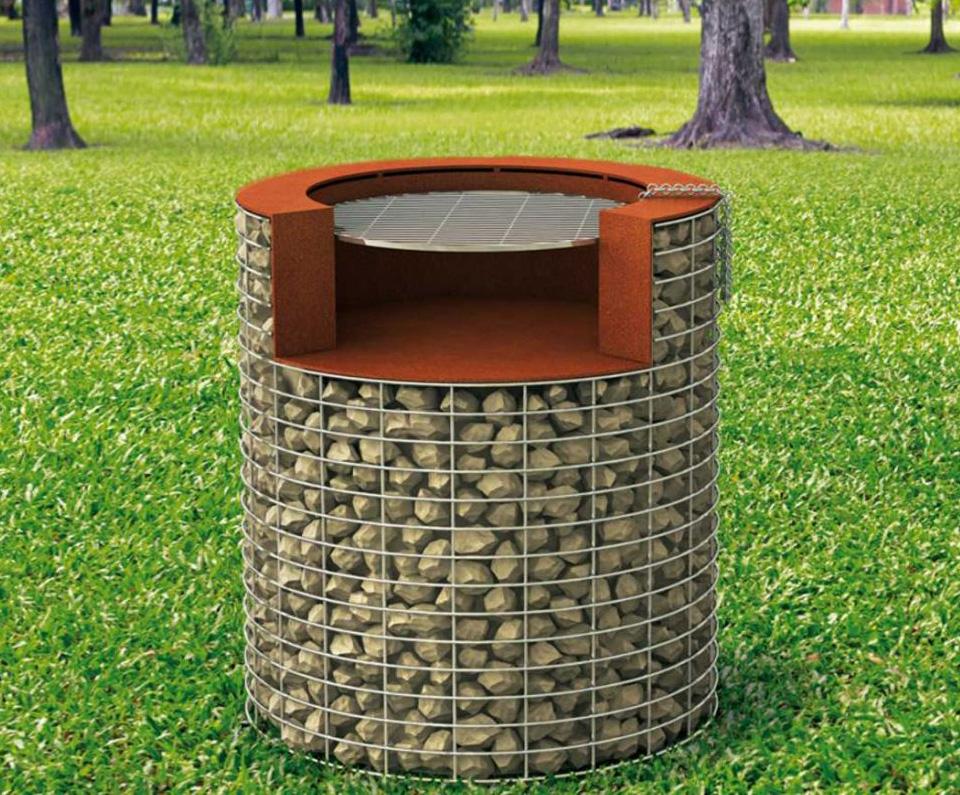 Barbecue structure gabion corten